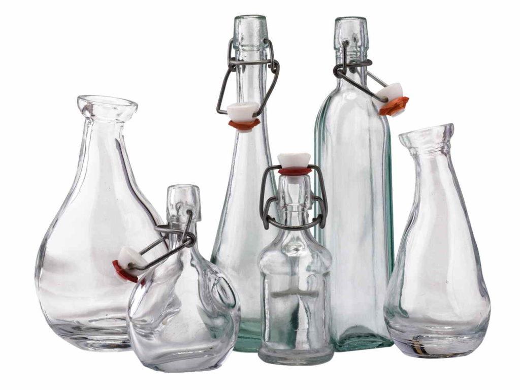 Bottiglie di Vetro Ecologiche, varie forme e dimensioni
